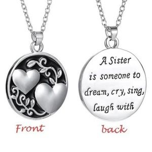 Beautiful Platinum Plated Sister Necklace